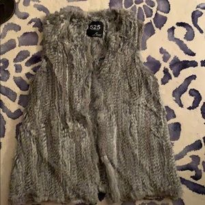 Gray rabbit fur vest